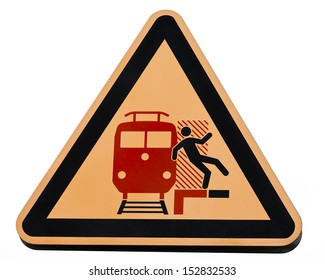 Railway station warning sign attention don't get caught by incoming trains symbol of person falling in front of train signpost isolated on white