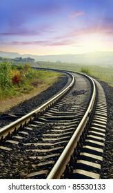 railway in sunset