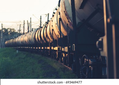 Railway tank cars with oil