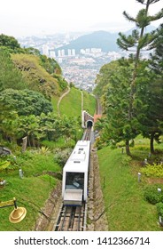 The railway to top of the mountain at Penang Hill in Malaysia