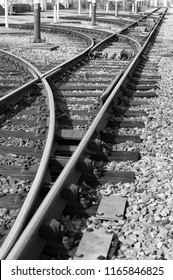 railway track in black and white