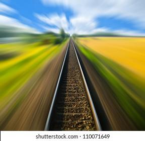 Railway track blurred