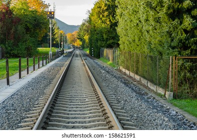A railway Track going through Trees.
