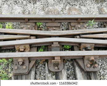 Railway Track at mid section of crossover making an X.