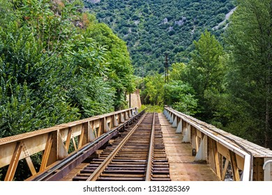 Railway track on bridge over La Tet river, Villefranche-de-Conflent, Pyrenees-Orientales, Occitanie, France