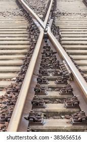 Railway track on gravel embankment, with concrete railway ties