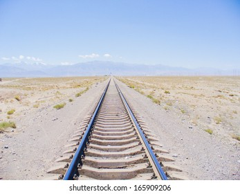 Railway Track on Silk road,Jiayuguan,Gansu,China