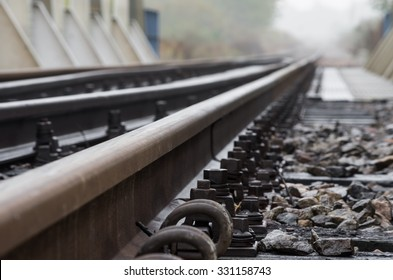 Railway track on steel bridge -shallow depth of field