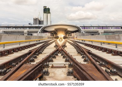 Railway or track (Running rail and Conductor rail) of sky train on viaduct to station