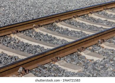 Railway tracks with concrete sleepers
