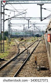 Railway tracks and electric lines of Indian Railways.