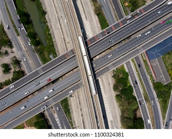 Railway tracks / Expressway top view, Road traffic an important infrastructure - Showing passenger trains