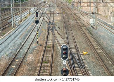 Railway tracks in Helsinki, Finland at summer day.