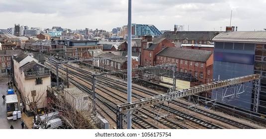 Railway tracks leading into Leeds Train Station, West Yorkshire, UK