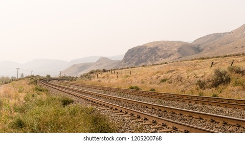 Railway tracks near Kamloops, British Columbia, Canada