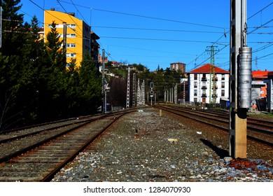 Railway tracks near the town