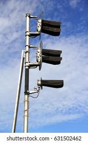 Railway traffic lights side view