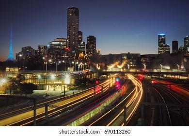 Railway traffic at Melbourne CBD Australia