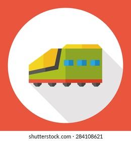Railway Train flat icon with long shadow