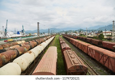 Railway. Train station. Old freight cars. Batumi. Georgia.