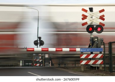 railway transport passing railroad crossing in the netherlands