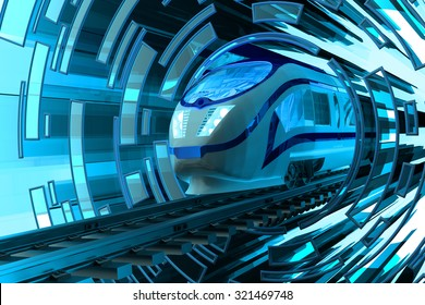 Railway transportation concept, fast motion of modern high speed passenger train on railroad tracks on abstract blue circular background
