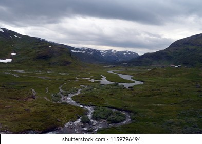 Railway travel in Norway.Views from the train. June 26,2018. The Bergen - Oslo train. Norway