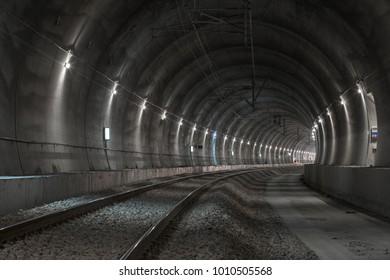 Railway tunnel with lights