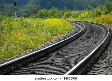 Railway in Ukraine. Background of nature.