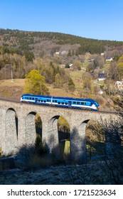 Railway viaduct Novina in Krystofovo udoli, Northern Bohemia, Czech Republic - Shutterstock ID 1721523634