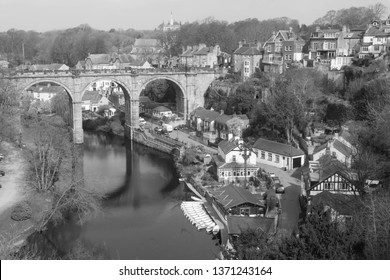 The railway viaduct over the River Nidd gorge at Knaresborough, North Yorkshire, England.