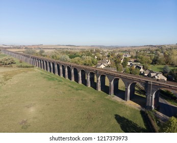 Railway viaduct, Welland viaduct, Northamptonshire UK
