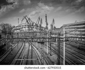 Railway view on Gdansk shipyard