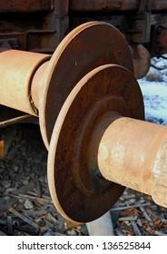Railway wagon buffers close-up