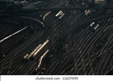 Railway wagons at the railroad yard