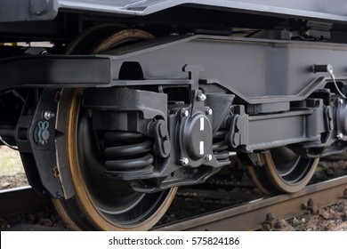 Railway wheels wagon .Freight (cargo) train.