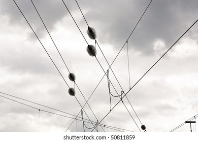 railway wire of the high tension line