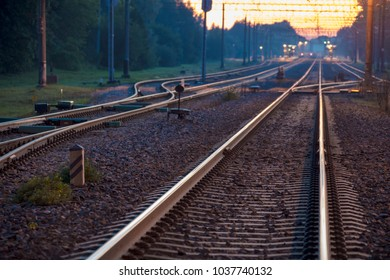 Railways at dusk. Summer night