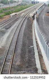 Railways and Local road by top view