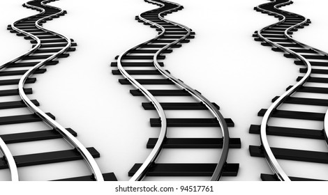The railways for a train on a white background