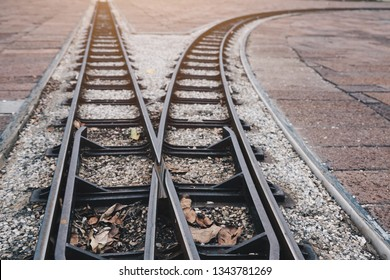 Railways two ways and directions , decision making , Choices concept, where to go, directions, business solutions,uncertainty