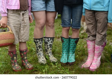 Rain boots on a wet day at the Farmers Market