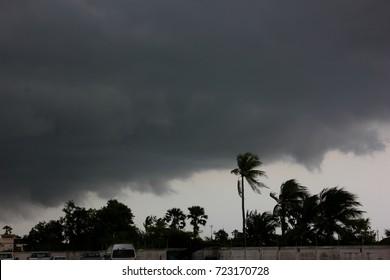 the rain cloud with windy before rain storm