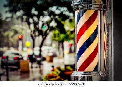 Rain collecting on the barber shop pole in Coronado, California.