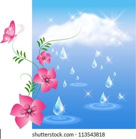 Rain in the dark blue sky and flowers.  Raster version of vector.