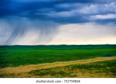 Rain from dark clouds over the green plains of Mongolia, crossed by the road