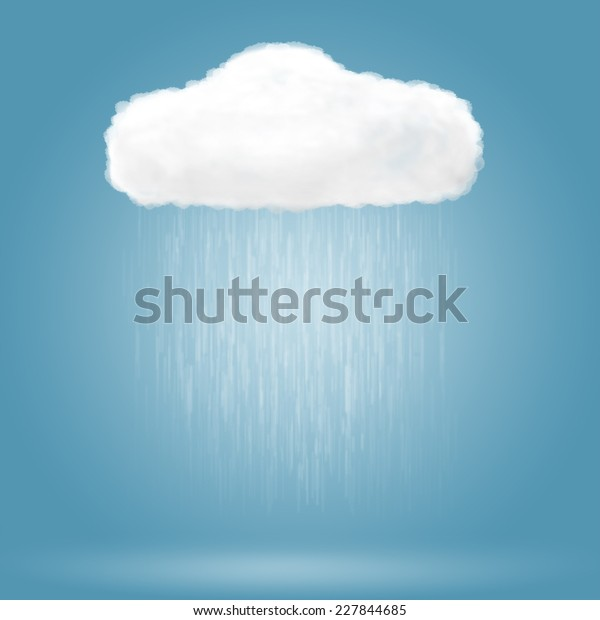 Rain drop falling from cloud over blue background