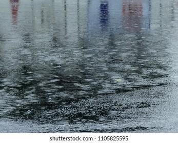 rain drop on wet asphalt road after rain