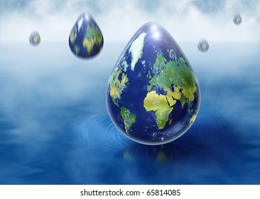 Rain droplets in the form of earth symbolizing global warming and climate change.