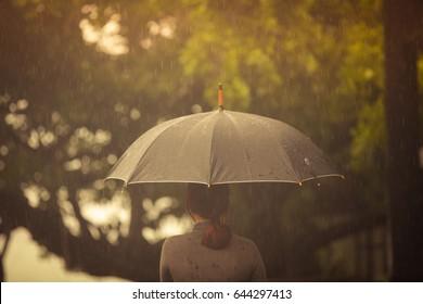 Rain drops falling from a black umbrella,Laughing woman with umbrella checking for rain,Rainy summer.